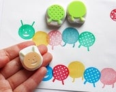green caterpillar stamp. hand carved caterpillar rubber stamp. gift wrapping. birthday scrapbooking. baby shower craft projects. set of 3