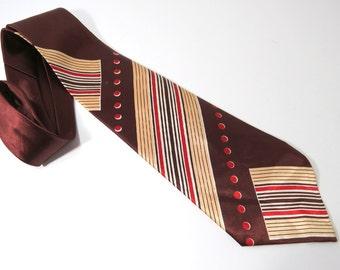 Vintage Neck Tie Brown Stripes Red Dots Geometric Vanguard Cravats