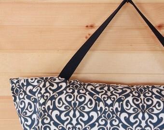 Large Yoga Bag, Zipper Yoga Bag, Yoga Mat Carrier, Blue Yoga Bag, Damask Print, Yoga Bag for Large Mat - Ready to Ship
