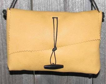 Honey Gold Honey Mustard Yellow Deerskin Cross Body  Mama Hippo Bag Handmade