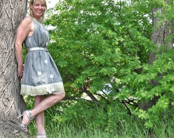 upcycled clothing, ethical fashion, dress . through the storm . M - L