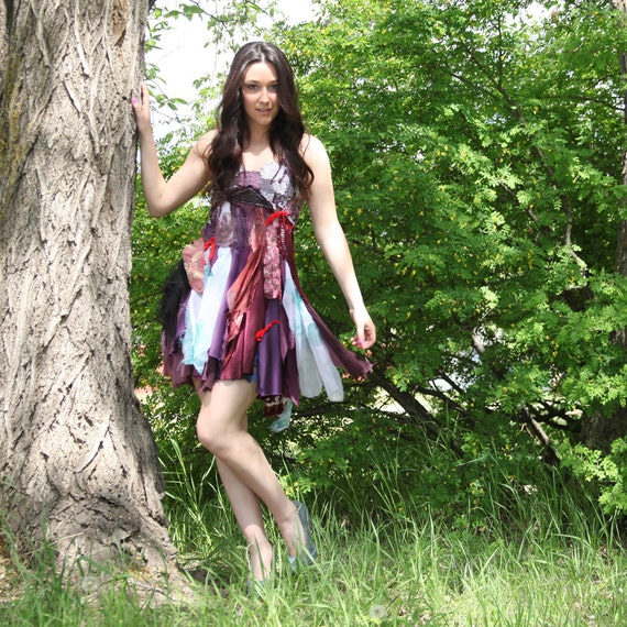 upcycled clothing . XS - S . tattered dress . midsummer night's dream