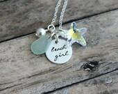 Beach Girl Sterling Silver Necklace, Swarovski Crystal Starfish, Genuine Sea Glass choice of color, Hand Stamped, White Swarovski Pearl