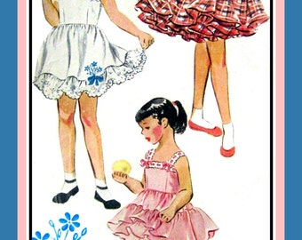 Vintage 1952-PETTICOAT-FULL SLIP-Girls Sewing Pattern-Three Styles-Gathered Skirt-Transfer for Embroidery-Ribbon-Bows-Beads Trim-Size 4-Rare