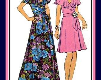 Vintage 1972-PARTY CAPELET WRAP Dress-Sewing Pattern-Two Styles-Front Wrap-Flutter Flare Collar-Low V Neckline-Tie Bow Belt-Size 12-Rare