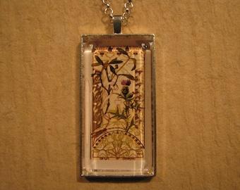 Mistletoe Pendant, Thistle Pendant, Floral Pendant, Etudes de Fleurs, French Pendant, Rectangle Pendant, Glass Pendant