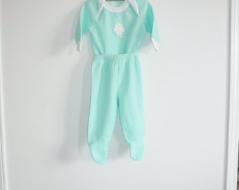 Vintage Green Fleece Baby Pajamas