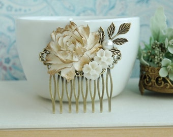 Antique Gold Finish Rose Comb, Gold Ivory Off White Rose Flower Comb, Rose Leaf Comb Bridal Hair Vintage Rustic Gold Wedding Bridesmaid Gift