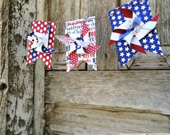 4th of July Pinwheel banner, patriotic banner Red White and Blue