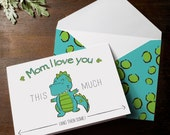 INSTANT DOWNLOAD Mothers Day Card cute kid's t rex dinosaur character character Mom, I love you this much stretched arms big hug DIY card