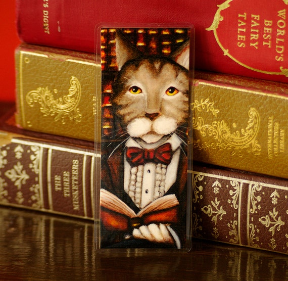 Reading Cat Bookmark, Cat Wearing Clothes, Literary Cat, Gone With the Wind Paper Bookmark
