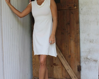 Mini Cowl Short Dress - Organic Fabric - Made to Order - Choose Your Color