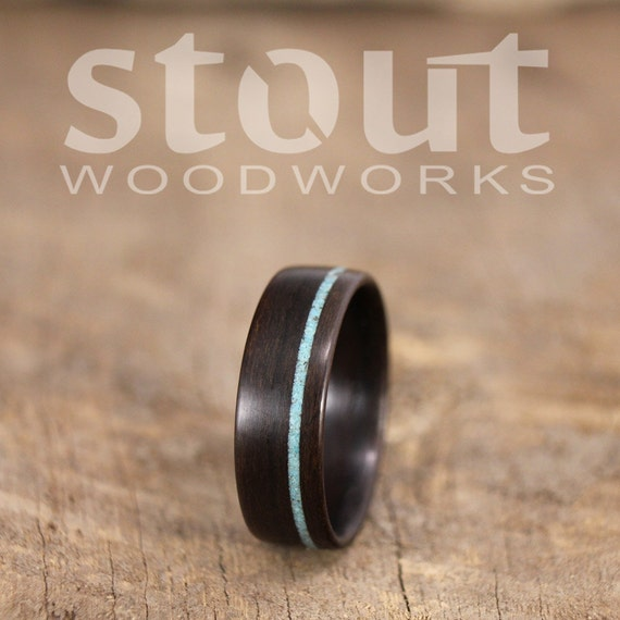 Bentwood Ring - Ziricote Wooden Ring with Offset Turquoise Inlay - Handcrafted Wood Wedding Ring - Custom Made