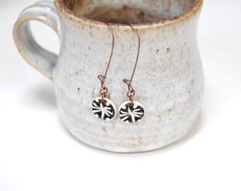 Pottery earrings,black white earrings,copper clay earrings,clay dangle earrings,round star earrings,ceramic earrings,
