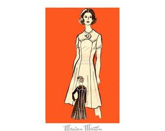 1970s A Line Dress Pattern Marian Martin 9046, Yoke Bodice, Bust 33, Slimming Dress, Mail Order Vintage Sewing Pattern, Uncut