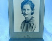vintage photograph portrait, woman photograph, black and white photograph, ephemera, framable