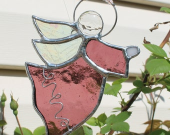 Guardian Angel Stained Glass Suncatcher in Purple