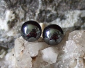 Shiny Hematite Stud Earings Earrings Titanium Post and Clutch Flat Backs Hypo Allergenic Handmade in Newfoundland Yang Alaska Black Diamond