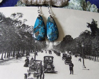 Blue Variscite Teardrop Dangle Earrings Titanium Ear Wires Made in Newfoundland Hypo Allergenic