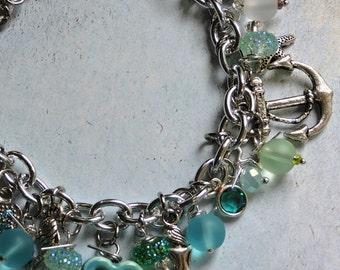 March Birthstone, Charm Bracelet