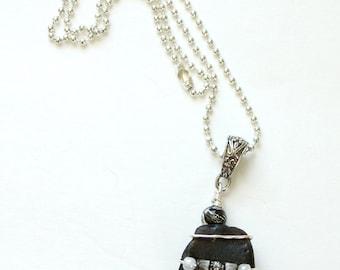Black Sea Glass Pendant and Necklace, Black and White Pendant