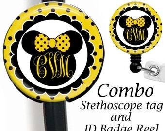 Stethoscope ID Tag And Retractable Badge Reel Combo, ID Badge Holder, Stethoscope Name Tag, Nurse Name Badge Holder, ID Card Holder