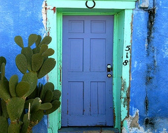 Blue Door Photography, Tucson Photograph, Southwestern Decor, Arizona, rustic door, door picture, turquoise blue door, teal blue, aqua
