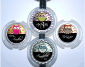 Owl Stethoscope Id - Personalized Honeycomb Bottle Cap Stethoscope Name Tag in 4 Colors (A173)