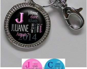 Baby Birth Keychain - Personalized Newborn Keychain with Baby Name, Birthday, Weight and Time in 4 Colors, Braided Edge Pendant (A258)