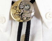 Steampunk Bolo Tie - Upcycled Watch Movement Man In The Moon Bolo Slide Necklace With Crystal Or Without - Rockabilly Country Western Wear