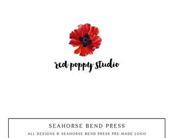 Logo Design, Pre-made Logo Identity, Small Business Branding, Wedding Logo and Branding, Red Poppy (112)