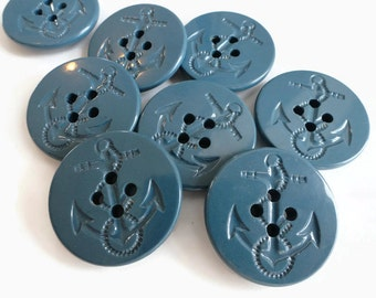 Vintage Sailor Pea Coat Buttons in Indigo Blue