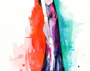 April II // Giclée print from an original watercolour fashion illustration by Holly Sharpe