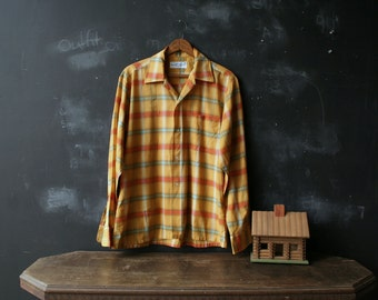 Vintage Mens Plaid Cotton Long Sleeve Light Shirt KMart Brand 1960s With Yellow Orange and Light Turquoise From Nowvintage on Etsy