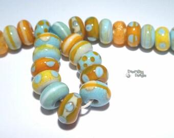 BISCAYNE Handmade Lampwork Beads  Ivory Squash Orange  Turquoise +++++  - Organic