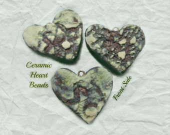 green heart , Heart bead for necklaces, necklace supply ,clay heart bead, ceramic heart -  # 127