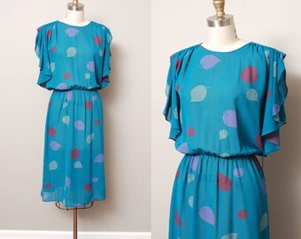 1970s Dress - Sheer Flutter Sleeve Leaf Print Teal 70s Dress