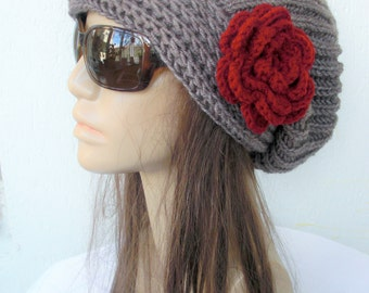 Slouchy Hat Winter Hat Hand Knit Hat  Womens hat  chunky knit  Taupe Slouchy Beanie  Flower  Fall Winter Accessories  Autumn Fashion
