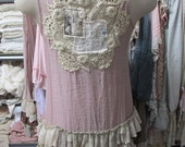 Vintage Kitty.. shabby chic, upcycled layered tunic..,vintage doilies,mushroom, natural, ecru, ruffles, layers.. size Medium