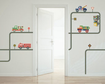 Trucks Wall Decals with Curved Straight Gray Road Stickers (Repositionable)