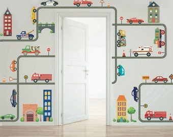 Transportation Town with Cars, Trucks, EMS Vehicles and Curved and Straight Road Wall Decals, Removable and Reusable