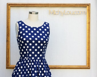 retro print dress with polka dots -  navypolkadot dress  - retro clothing - womens dress - rockabilly dress -
