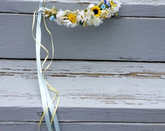 Bridal flower crown destination Wedding hair wreath yellow blue artificial silk dried style boho accessories Ready to Ship woodland halo