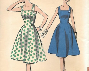 Advance 9054 1950s Classic Princess Shaped Sundress Vintage Sewing Pattern Bust 36 Square Neck