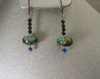 Boro Lampwork Earrings with Swarovski Crystals (ES11)