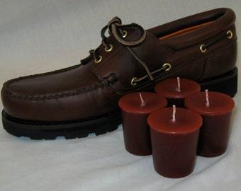 LEATHER (4 votives or 4oz soy jar candle)