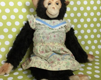 Fur Monkey with Vintage Dress