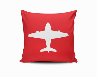 Airplane Pillow Cover, Nursery Airplane Pillow Cover, Throw Pillow Cover, Airplane Throw Pillow, Airplane Nursery Pillow, Pick Your Color