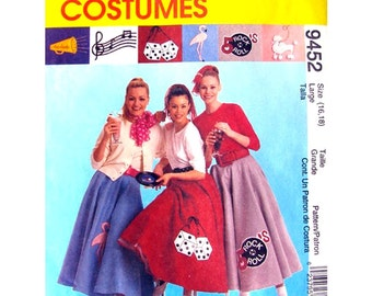 Circle Skirt & Petticoat 50s Dance Costume Pattern McCalls 9452 Sock Hop Poodle Applique Womens Sewing Pattern Size 16 18