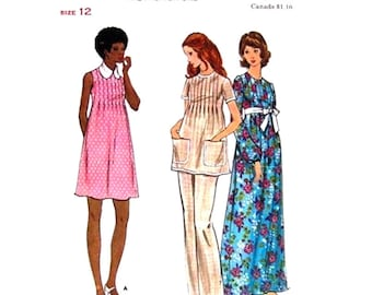 Maternity Dress Tunic Pants Pattern Butterick 6697 Mini Or Maxi Dress Tucked Front Top Bust 34 Vintage Pattern